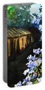 Old House And New Flowers Portable Battery Charger