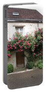 Old House Covered With Roses Portable Battery Charger