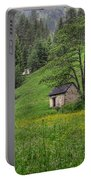 Old House On The Green Field Portable Battery Charger