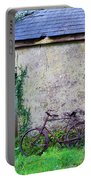 Old Irish Cottage With Bike By The Door Portable Battery Charger
