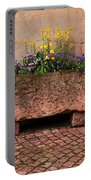 Old Stone Trough And Flowers In Alsace France Portable Battery Charger