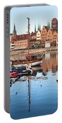 Old Town Of Gdansk Skyline And Marina Portable Battery Charger