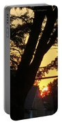 Old Tree And Sunset Portable Battery Charger