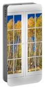 Old Triple16 Pane White Window Colorful Autumn Aspen Forest View Portable Battery Charger