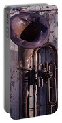 Old Tuba On Worn Door Portable Battery Charger