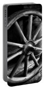 Old Wagon Wheel Black And White Portable Battery Charger