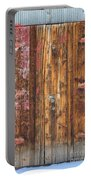 Old Wood Door With Six Red Hinges Portable Battery Charger