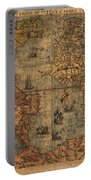 Old World Map Portable Battery Charger by Dan Sproul