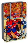 Olympic  Hockey Hopefuls  Painting By Montreal Hockey Artist Carole Spandau Portable Battery Charger
