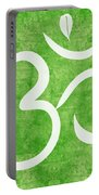 Om Green Portable Battery Charger by Linda Woods