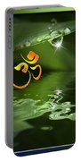 Om On Green With Dew Drop Portable Battery Charger