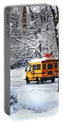 On The Way To School In Winter Portable Battery Charger