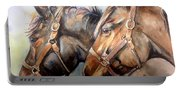 Horse In Watercolor On Watch Portable Battery Charger