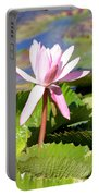 One Pink Water Lily Portable Battery Charger