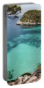 One Step To Paradise - Cala Mitjana Beach In Menorca Is A Turquoise A Cristaline Water Paradise Portable Battery Charger