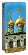Onion Domes On Churches Of The Nativity And Deposition Of The Robe Inside Kreml Portable Battery Charger