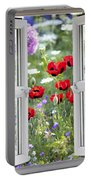 Open Window View Onto Wild Flower Garden Portable Battery Charger