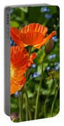 Orange And Blue - Beautiful Spring Orange Poppy Flowers In Bloom. Portable Battery Charger