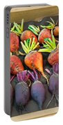 Orange And Purple Beet Vegetables In Wood Box Art Prints Portable Battery Charger