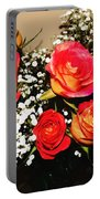 Orange Apricot Roses With Oil Painting Effect Portable Battery Charger