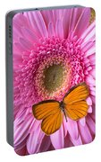 Orange Butterfly On Pink Daisy Portable Battery Charger