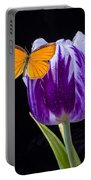 Orange Butterfly On Purple Tulip Portable Battery Charger
