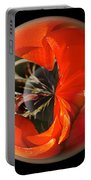 Orange Cactus Flower In A Globe Portable Battery Charger
