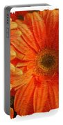 Orange Daisies Painterly With Border Portable Battery Charger