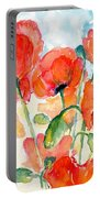 Orange Field Of Poppies Watercolor Portable Battery Charger
