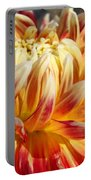 Orange Floral Art Dinner Plate Dahlia Flower Portable Battery Charger