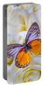 Orange Gray Butterfly Portable Battery Charger