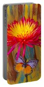Orange Gray Butterfly On Mum Portable Battery Charger