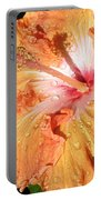 Orange Hibiscus After The Rain Portable Battery Charger