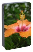Orange Hibiscus Blossom Portable Battery Charger