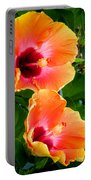 Orange Hibiscuses Portable Battery Charger