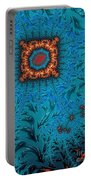 Orange On Blue Abstract Portable Battery Charger