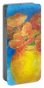 Orange Poppies In Yellow Vase Portable Battery Charger