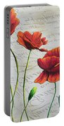 Orange Poppies Original Abstract Flower Painting By Megan Duncanson Portable Battery Charger