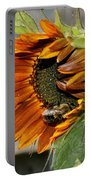 Orange Sunflower And Bee Portable Battery Charger