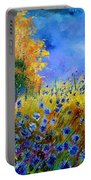 Orange Tree And Blue Cornflowers Portable Battery Charger