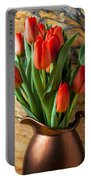 Orange Tulips In Copper Pitcher Portable Battery Charger
