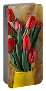 Orange Tulips In Yellow Pitcher Portable Battery Charger by Garry Gay