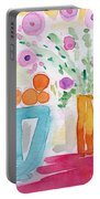 Oranges In Blue Bowl- Watercolor Painting Portable Battery Charger