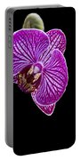 Orchid On Black Background Portable Battery Charger