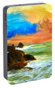 Oregon Coast At Sunset Portable Battery Charger