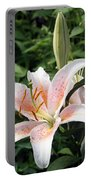 Oriental Hybrid Lily In White Peach And Pink  Portable Battery Charger