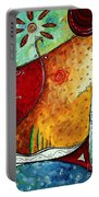 Original Abstract Pop Art Style Colorful Landscape Painting Home To Tuscany By Megan Duncanson Portable Battery Charger