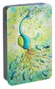 Original Acrylic Bird Floral Painting Peacock Glory By Megan Duncanson Portable Battery Charger