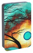 Original Bold Colorful Abstract Landscape Painting Family Joy I By Madart Portable Battery Charger