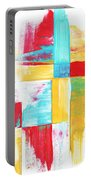 Original Bold Colorful Abstract Painting Patchwork By Madart Portable Battery Charger by Megan Duncanson